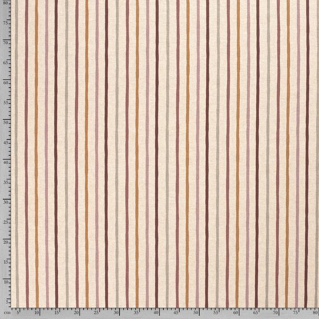 Canvas - Dekostoff - Leinenoptik - Streifen auf Natur