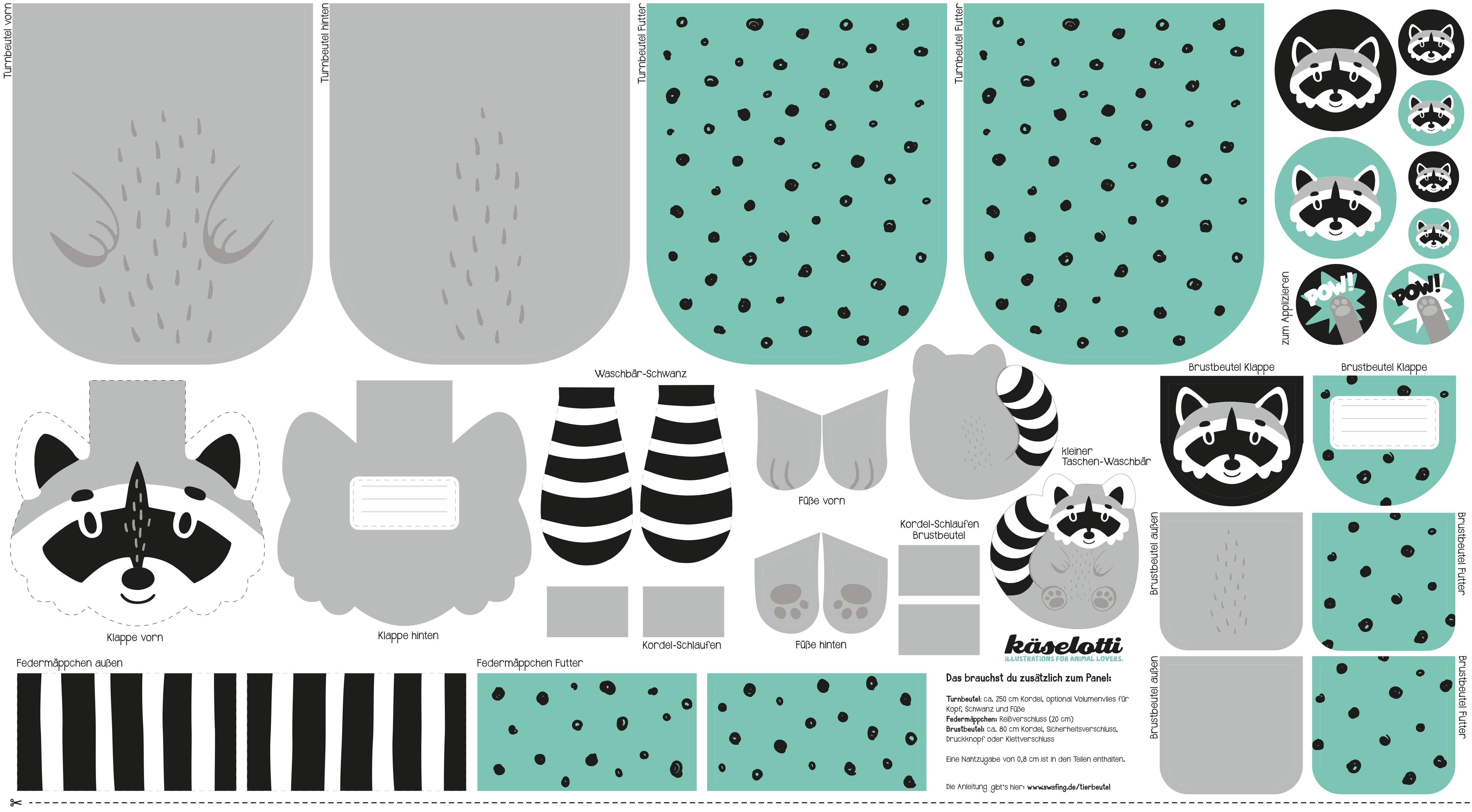 Canvas - Taschen Panel - Tierbeutel by käselotti - 80cm x 150cm - Waschbär