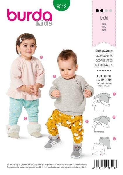 Burda Kids 9312 Schnittmuster Pullover und Hose (Kinder Gr. 62-98) Level 2 leicht