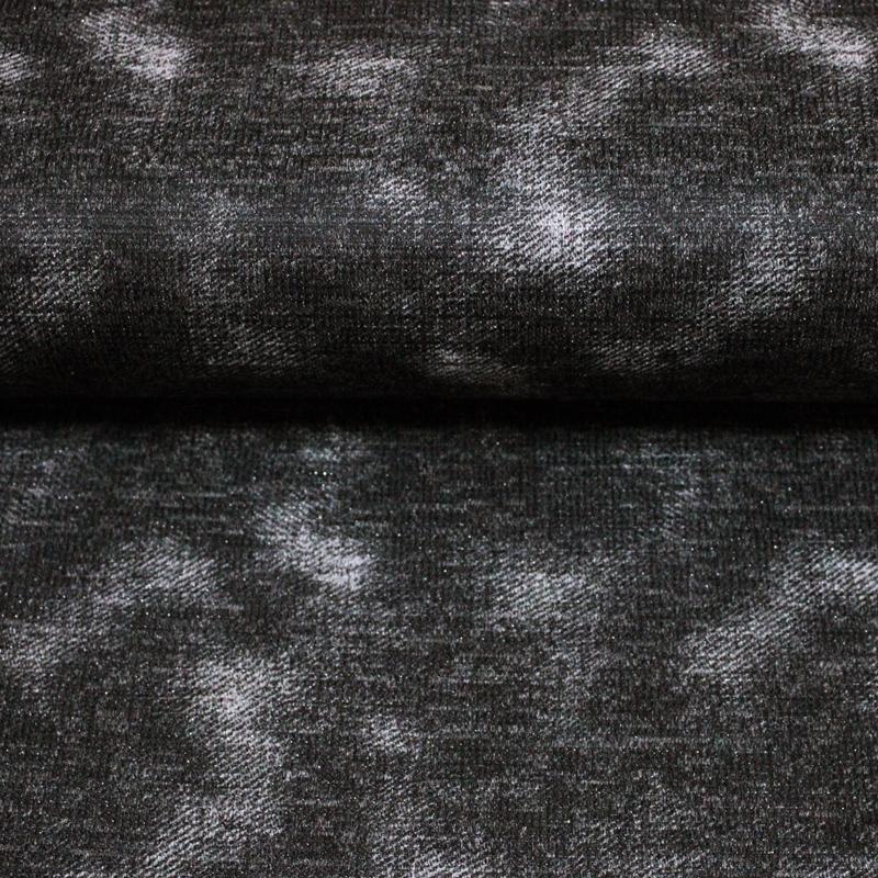 Modisches Stretchgewirke - Lurex - Gesprenkel in Grau auf Anthrazit
