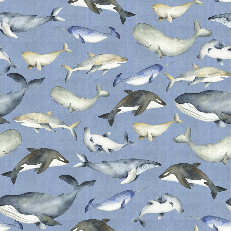 Baumwolljersey - Jersey Stoff - Digitaldruck - Meerestiere auf Hellblau