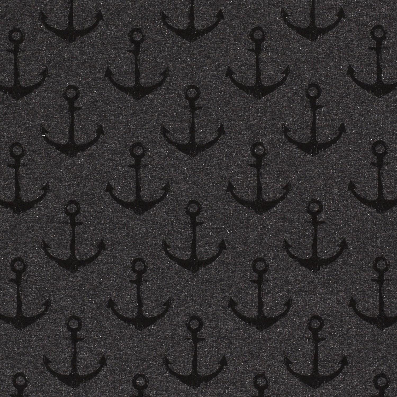 French Terry - Bedruckt - Anker - Maritim auf Dunkelgrau