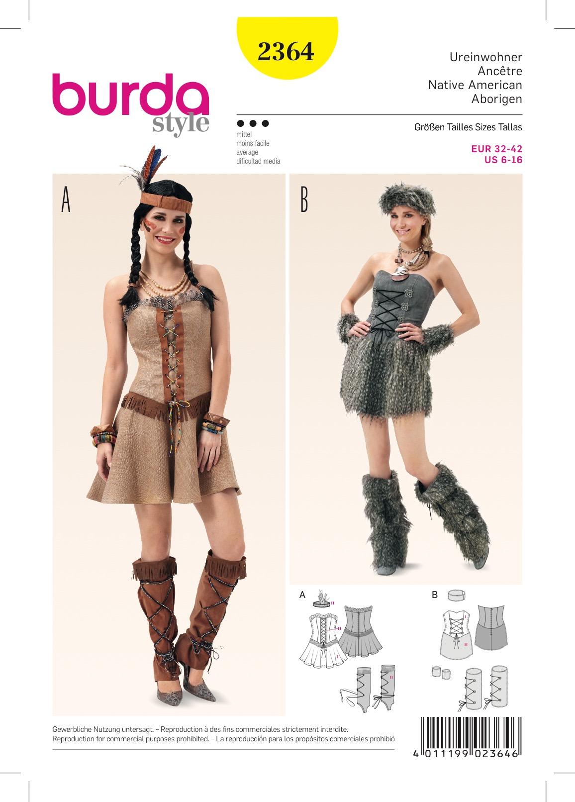 Burda 2364 Schnittmuster Kostüm Fasching Karneval Ureinwohner Indianer (Damen, Gr. 32 - 42) Level 3 mittel