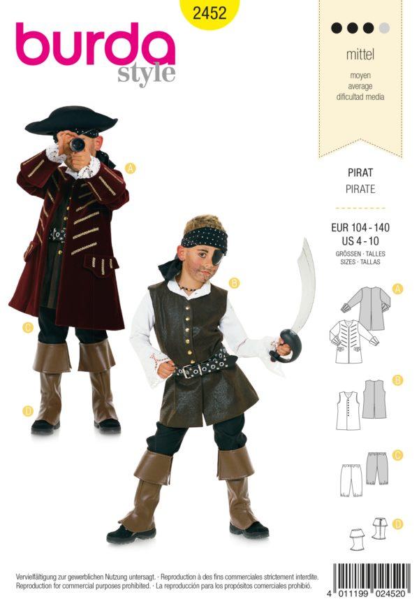 Burda 2452 Schnittmuster Kostüm Fasching Karneval Pirat (kids, Gr. 104 - 140) Level 3 mittel