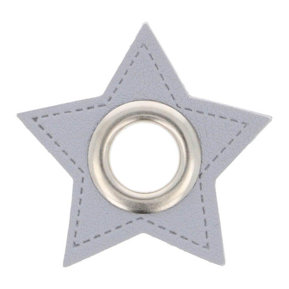 Kunstleder Ösen - Ösen Patches - Hellgrau Stern - 11mm - Silber - 1 Stück