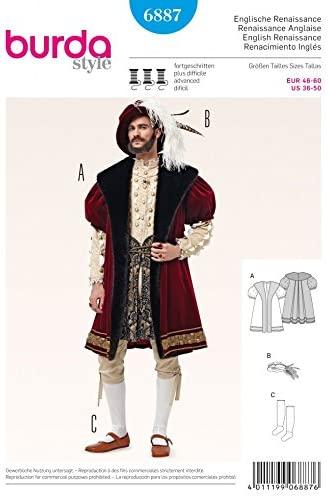 Burda 6887 Schnittmuster Kostüm Fasching Karneval Renaissance (Herren, Gr. 46 - 60) Level 4 fortgeschritten