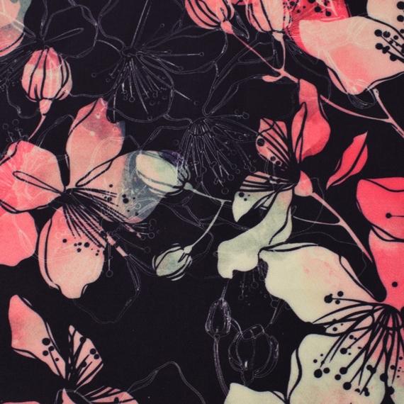 Softshell - NANO-Softshell - Blumen auf Schwarz