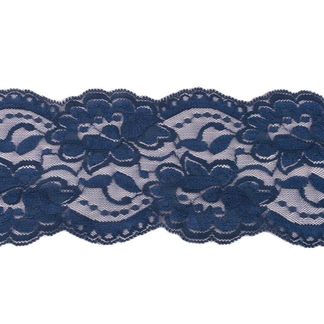 Elastische Spitze - 9,5 cm - Dunkel - Blau