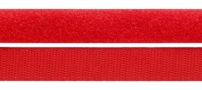 Klettband - Meterware - Doppelband - Hakenband und Flauschband 25 mm Rot