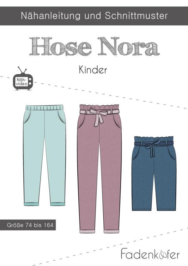 Papierschnittmuster Fadenkäfer - Papierschnittmuster Hose Nora Kinder - Größe 74 bis 164