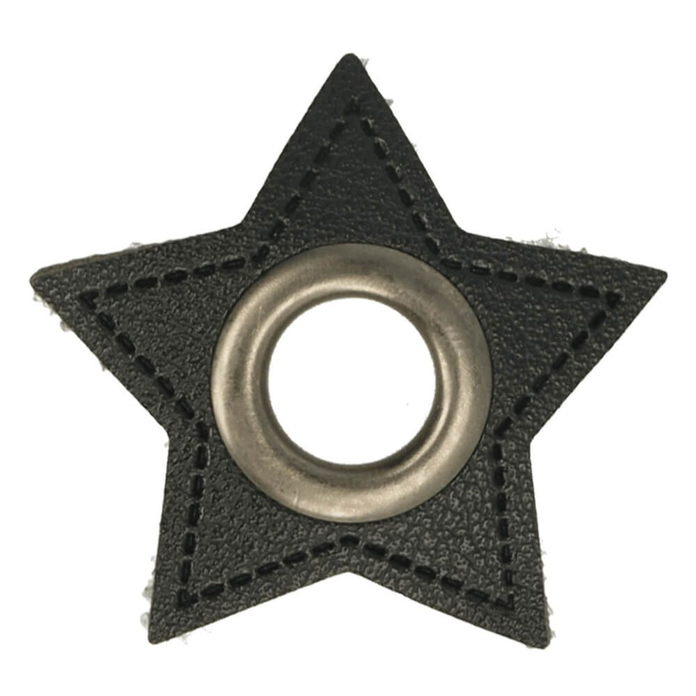 Kunstleder Ösen - Ösen Patches - Schwarz - Stern - 11mm - Altsilber
