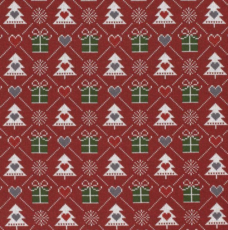 Sweat - leicht angeraut - Weihnachtliches Motiv im Pixeldesign - Bordeaux