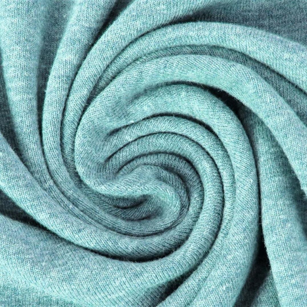 Baumwolljersey Melange - Jersey Stoff Uni meliert -  Minze meliert
