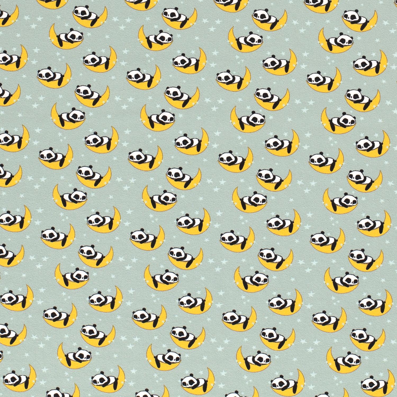 Baumwolljersey - Jersey Stoff - Motivjersey - Pandas auf Mond