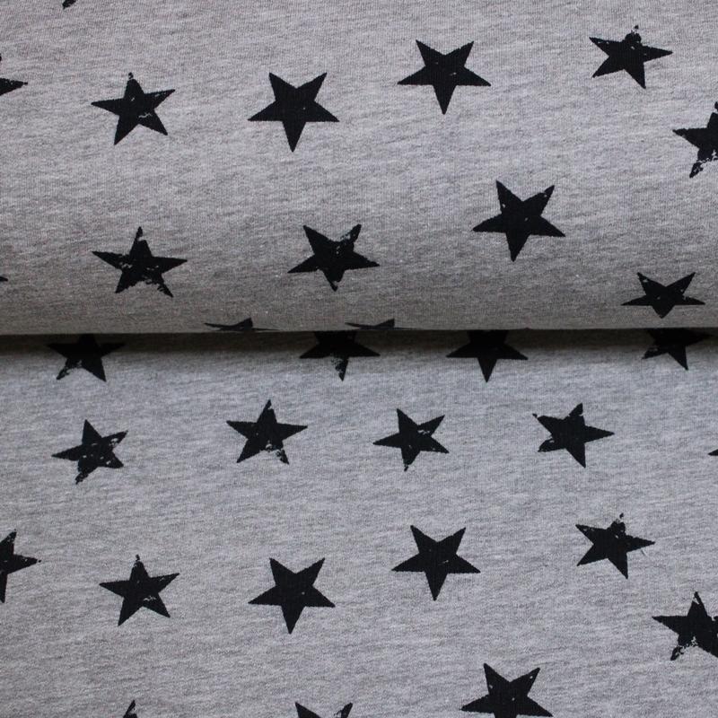 Sweat leicht angeraut - Sweat Stoff - Sterne in Navy auf Hellgrau Melange