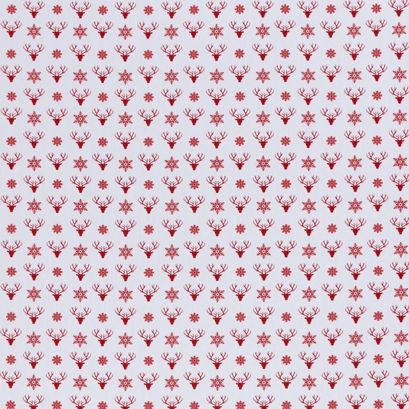 Webware - Baumwoll Stoff - Swafing - Joel - Hirschkopf und Schneeflocken in Rot auf Weiß