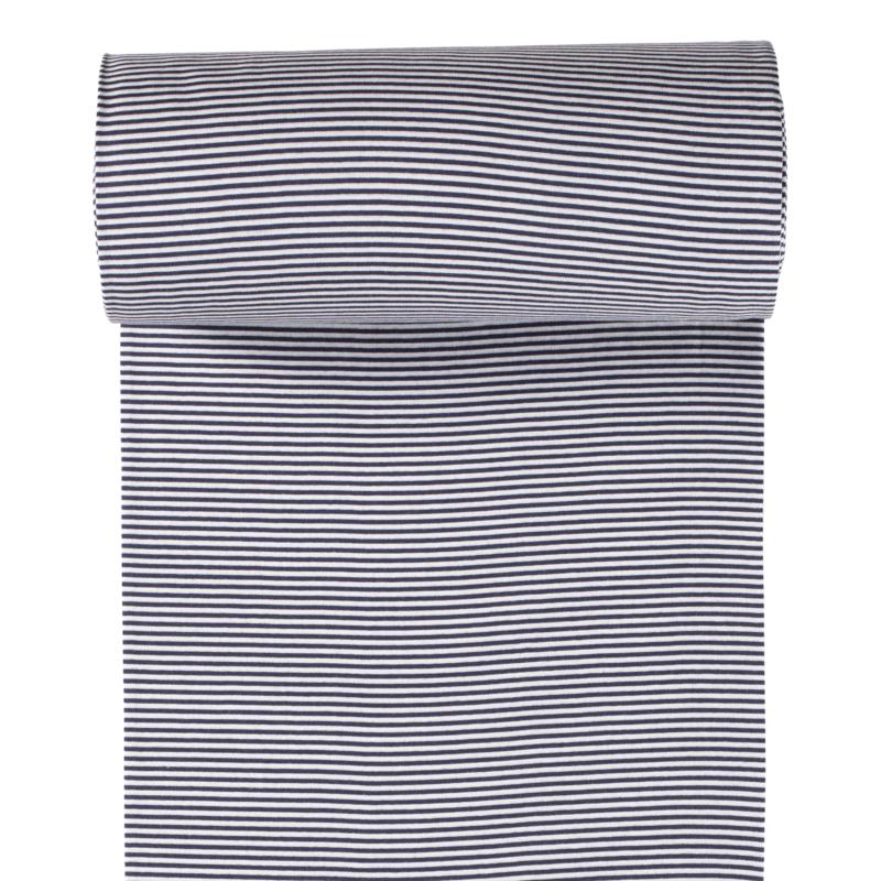 Ringelbündchen - Bündchen Stoff Glatt kleine Streifen - Navy/Weiß