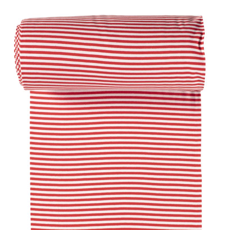 Ringelbündchen - Bündchen Stoff Glatt Streifen - Rot/Weiß
