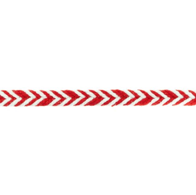 Flechtkordel - Baumwollkordel - Fischgrätenmuster - 10mm - Rot