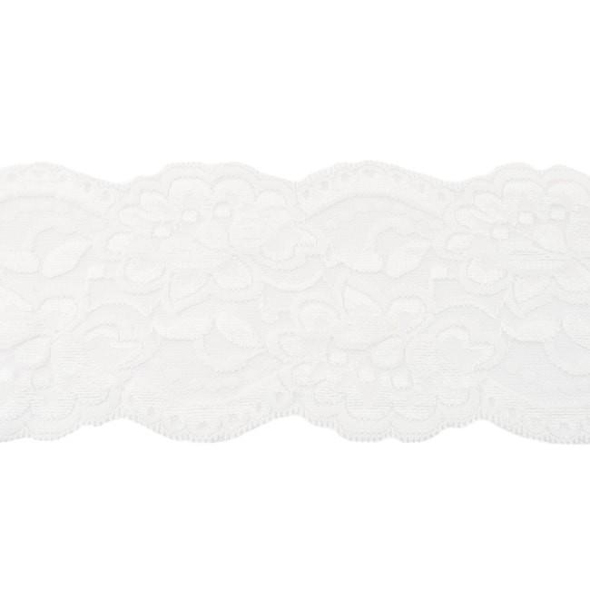 Elastische Spitze - 9,5 cm - Off - Weiß