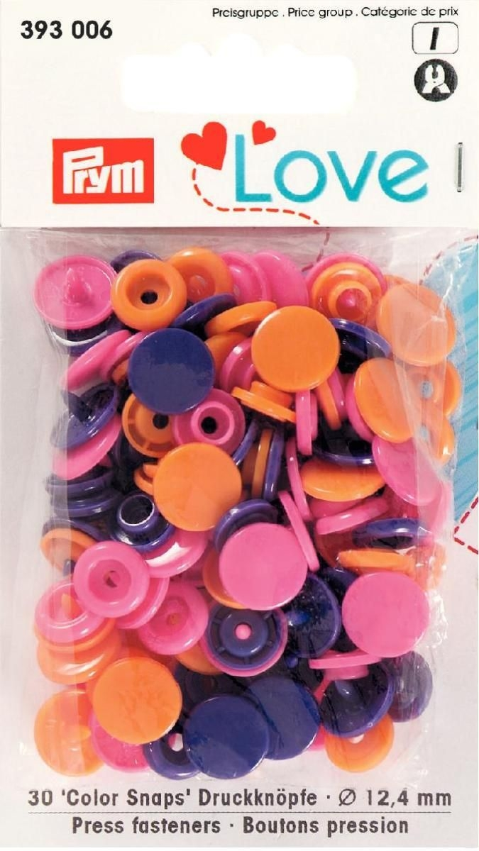 Prym Love Druckknopf Color KST 12,4mm orange/pink/violett - 393006