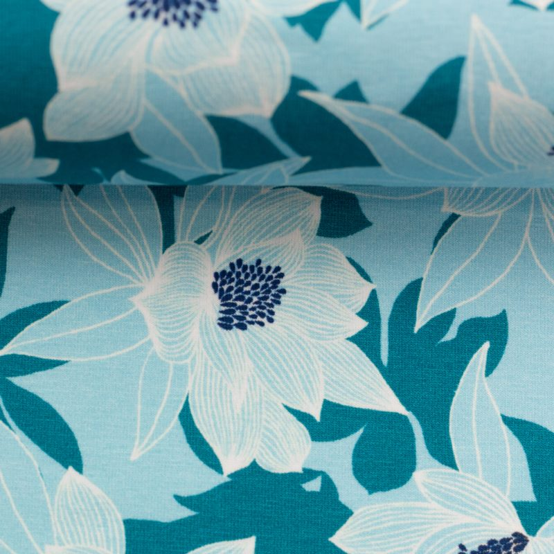 Baumwolljersey - Jersey Stoff - Motivjersey - Swafing - Tropical Forest - Blume auf Hellblau/Petrol