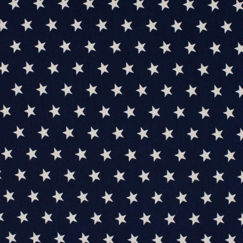 Baumwolle - Baumwoll Stoff - Sterne auf Navy Reststück 100cm