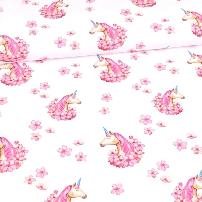 French Terry - Glitzerpüppi - Sommersweat Stoff - Motivsweat -  Rosa Einhörner mit Blumen auf Weiß