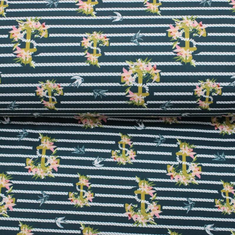 Softshell - NANO-Softshell - Blütenanker auf Grünblau