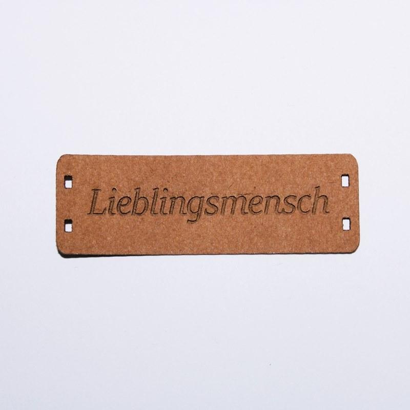 """Schnuckidu  - Label zum Annähen - SnapPap - Schriftzug - """"Lieblingsmensch"""""""