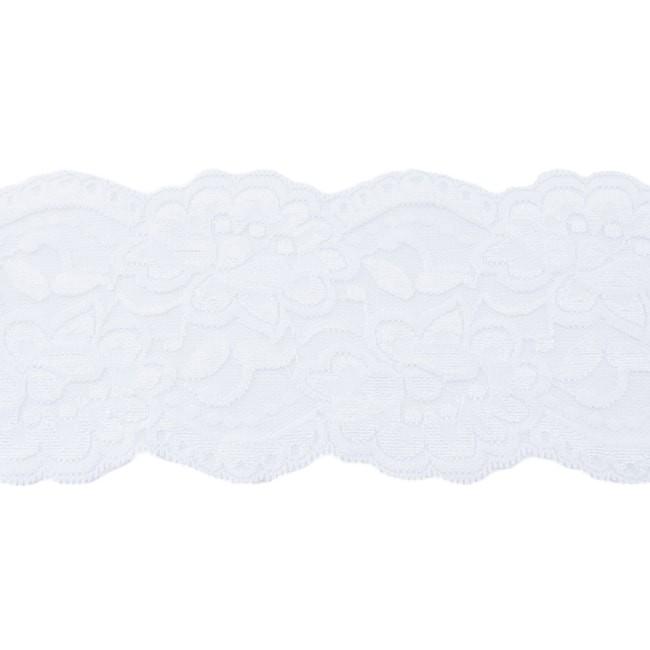 Elastische Spitze - 9,5 cm -Weiß