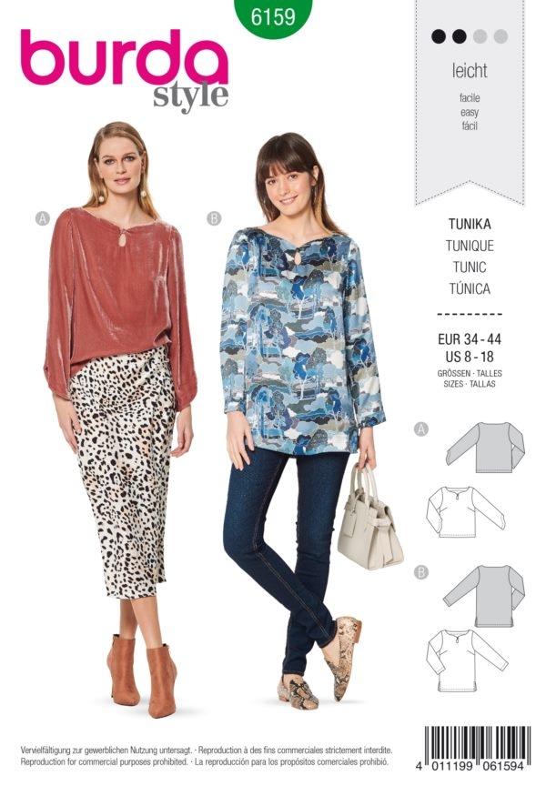 Burda Style 6159 Schnittmuster - Tunika – schöner Ausschnitt mit vord. Schlitz (Damen Gr. 34-44) Level 2 Leicht