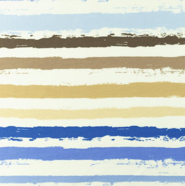 Baumwolljersey - Jersey Stoff - Motivjersey -  Streifen in Blau- und Beigetönen