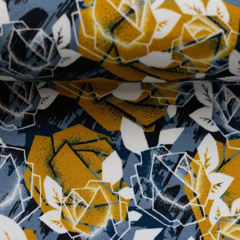 Sweat leicht angeraut - Sweat Stoff - Swafing - Rosi - Abstraktes Rosenmotiv auf Jeansblau