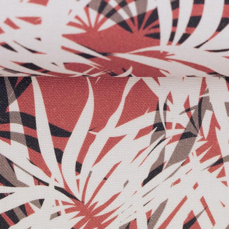 Canvas - Dekostoff - Leinenoptik - Rinteln - Palmenblätter Grau/Bordeaux