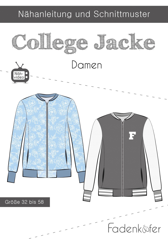Papierschnittmuster Fadenkäfer - Collegejacke Damen
