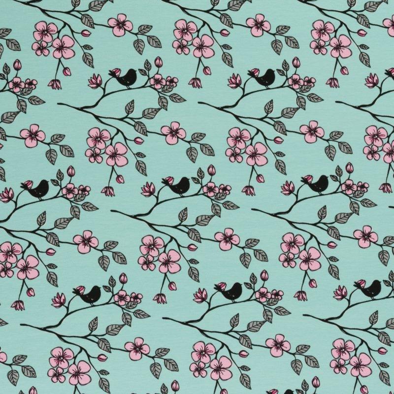 Baumwolljersey - Jersey Stoff - Swafing - Valerie Papillon by Steinbeck - Vogel auf Ast mit Blüten auf Mint Reststück 155cm