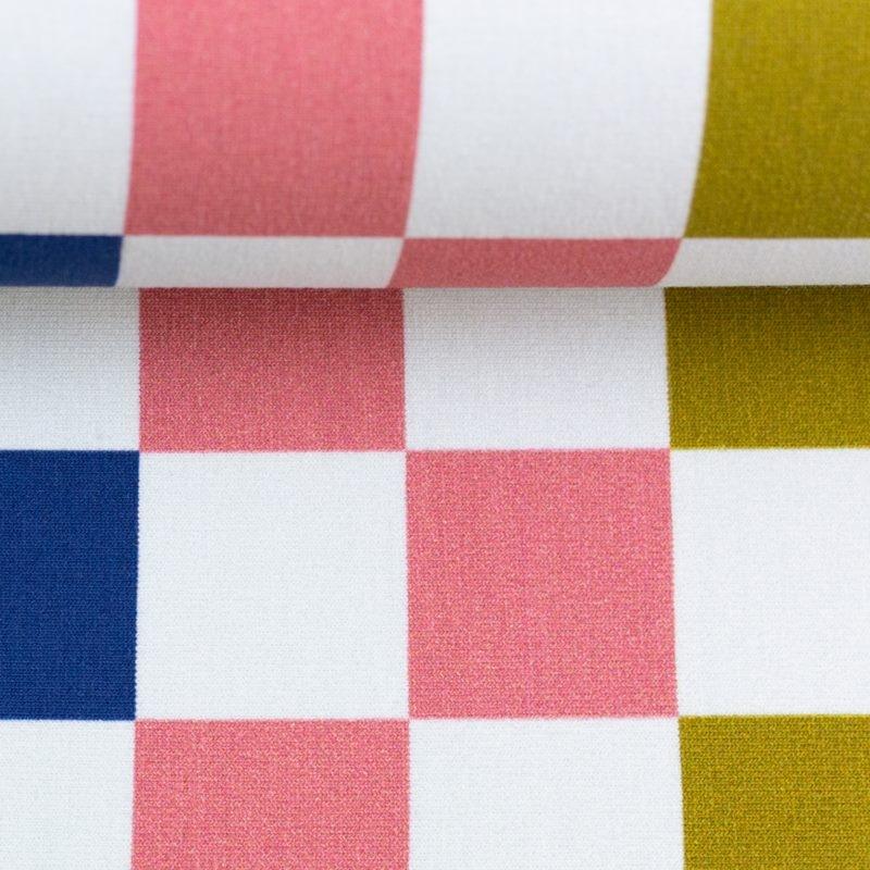 Modal Sweat - Baumwoll French Terry - Modal Stoff - Swafing - Squares von Lila-Lotta - Karos in Dunkelblau, Royalblau, Türkis, Ocker und Koralle
