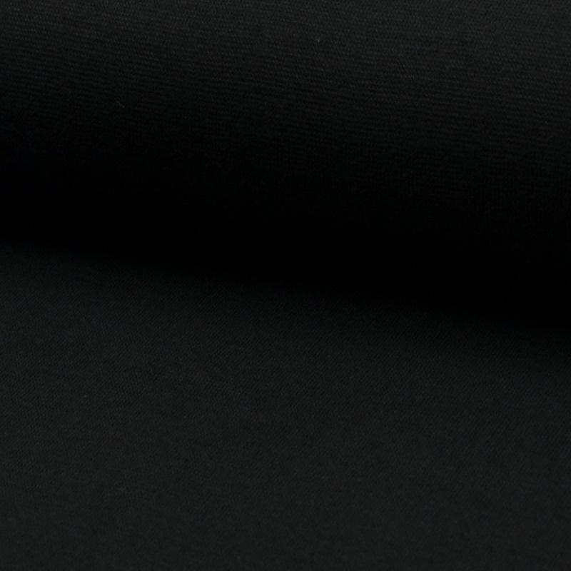 Bündchen Stoff Feinripp Uni - Schwarz