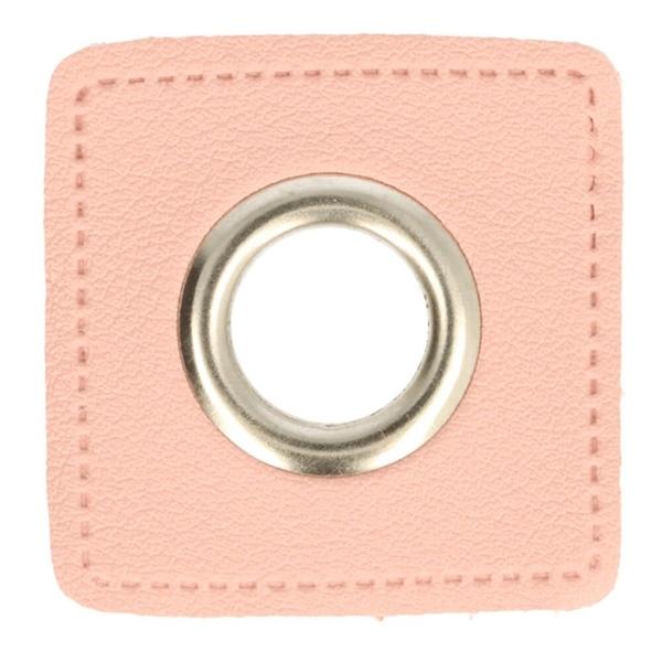 Kunstleder Ösen - Ösen Patches - Viereck Rosa - 8mm - Silber - 1 Stück