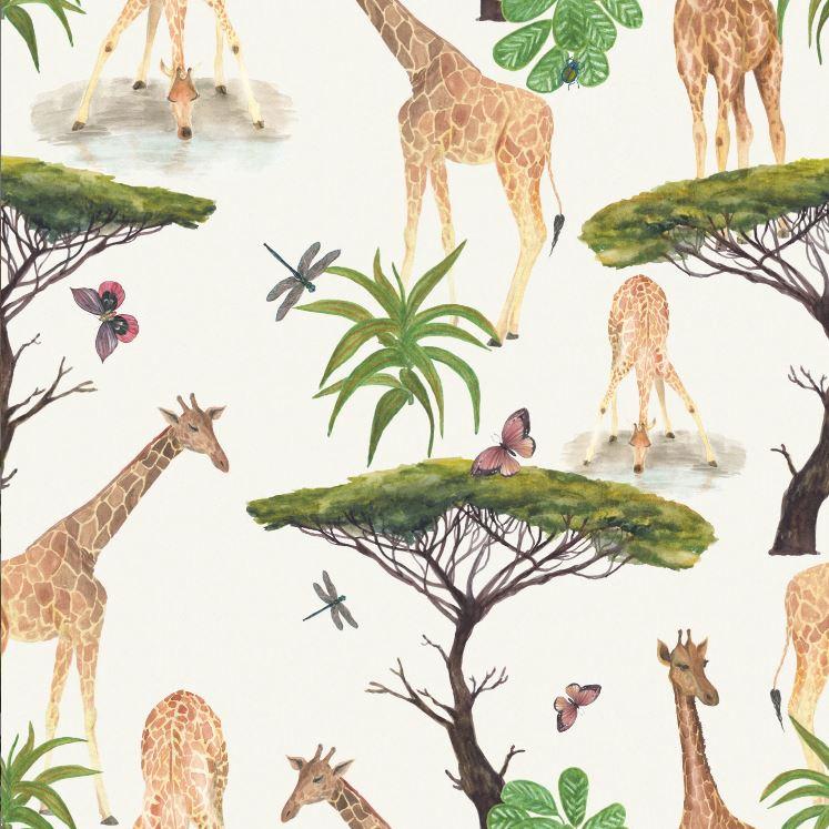 Baumwolljersey - Jersey Stoff - Giraffen Safari auf Ecru