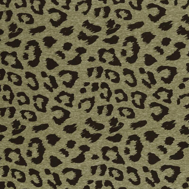 Alpenfleece - Sweat Stoff mit Plüschfell-Abseite - Swafing -  Eiger - Animal Print auf Khaki meliert