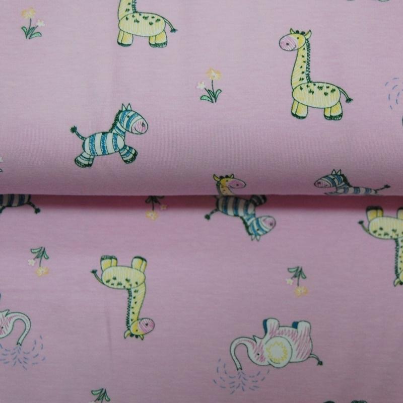 Baumwolljersey - Jersey Stoff - Motivjersey - Giraffe Elefant Zebra auf Pink