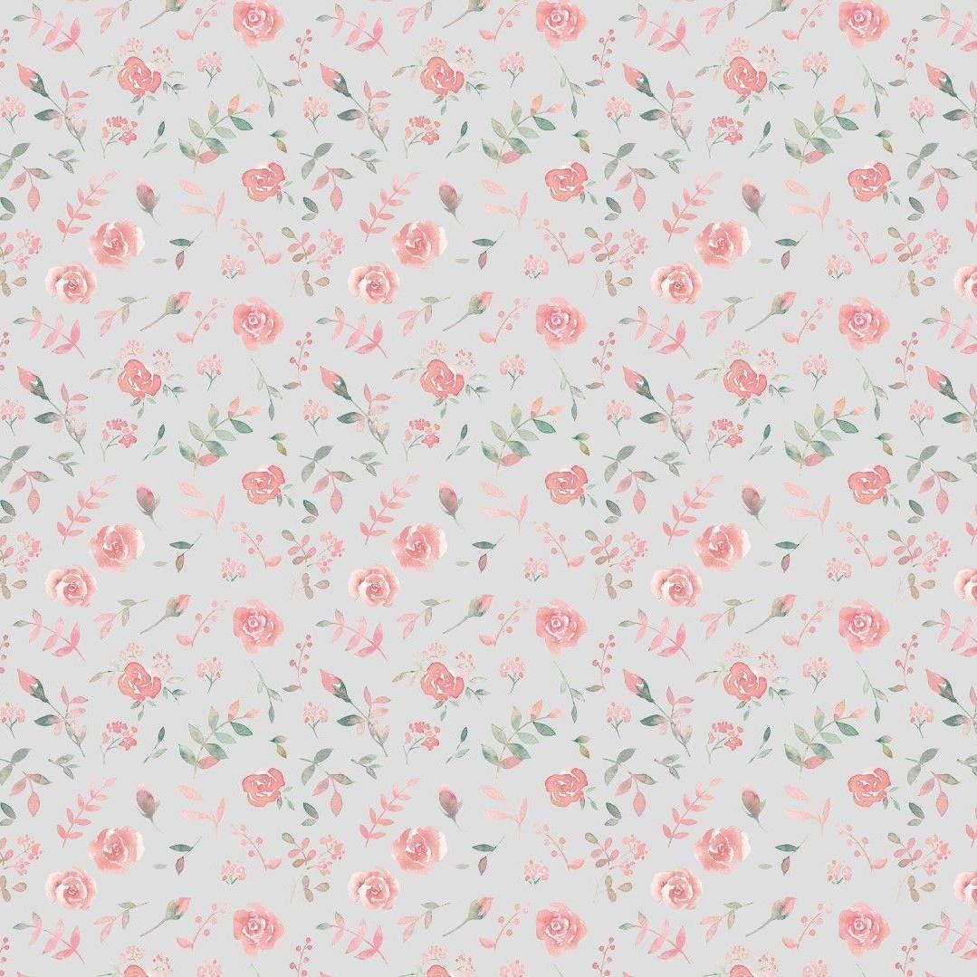 Baumwolljersey - Jersey Stoff - Motivjersey - Digitaldruck - Kleine Rosen auf Hellgrau - Reststück 70cm