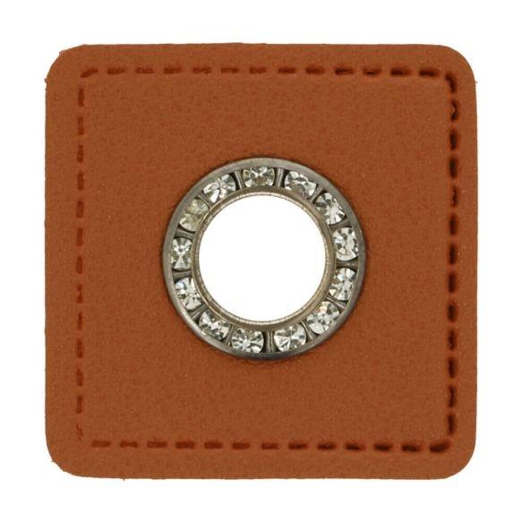 Kunstleder Ösen - Ösen Patches - Viereck Braun - 8mm - Silber mit Strasssteine - 1 Stück