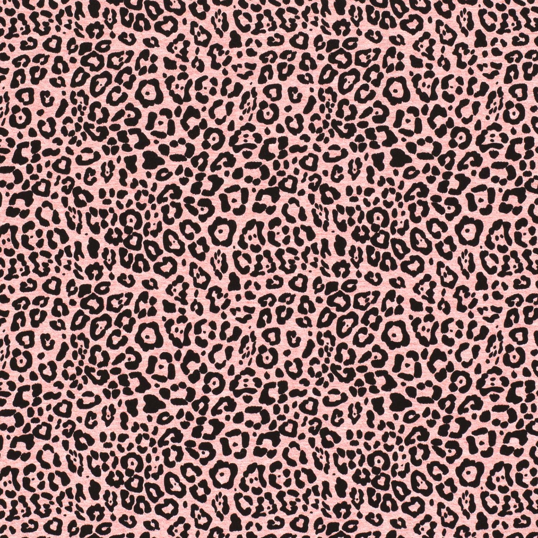 Baumwolljersey - Jersey Stoff - Motivjersey - Leoprint auf Pink Melange