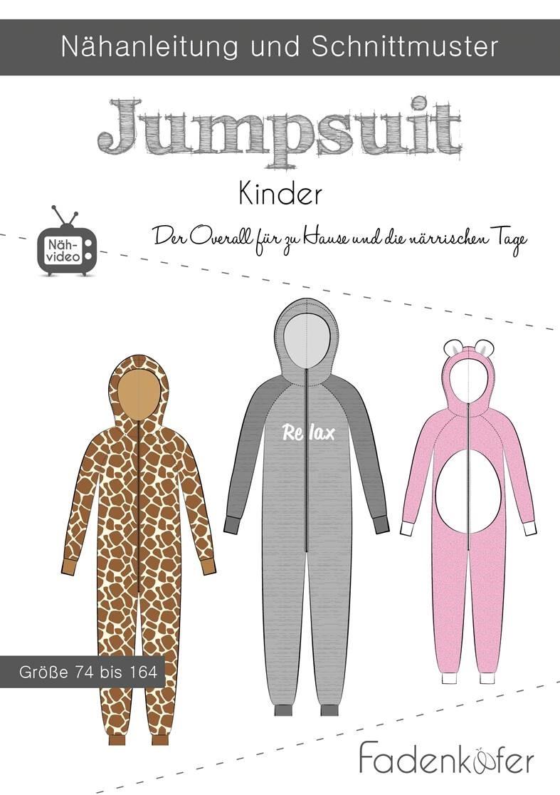 Papierschnittmuster Fadenkäfer - Papierschnittmuster Jumpsuit Kinder - 74 bis 164