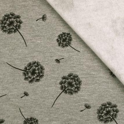 Sweat angeraut - Sweat Stoff - Pusteblume auf Grau Melange Reststück 150cm