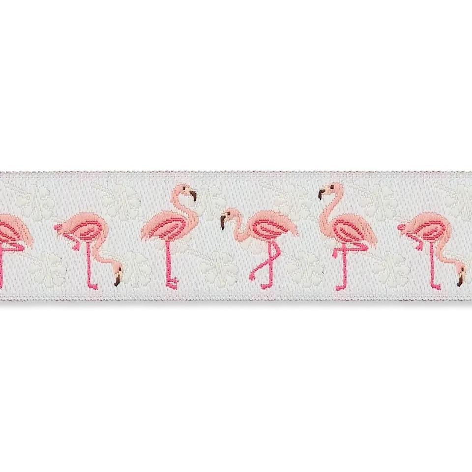 Webband - Jacquardborte - Flamingos - 16mm
