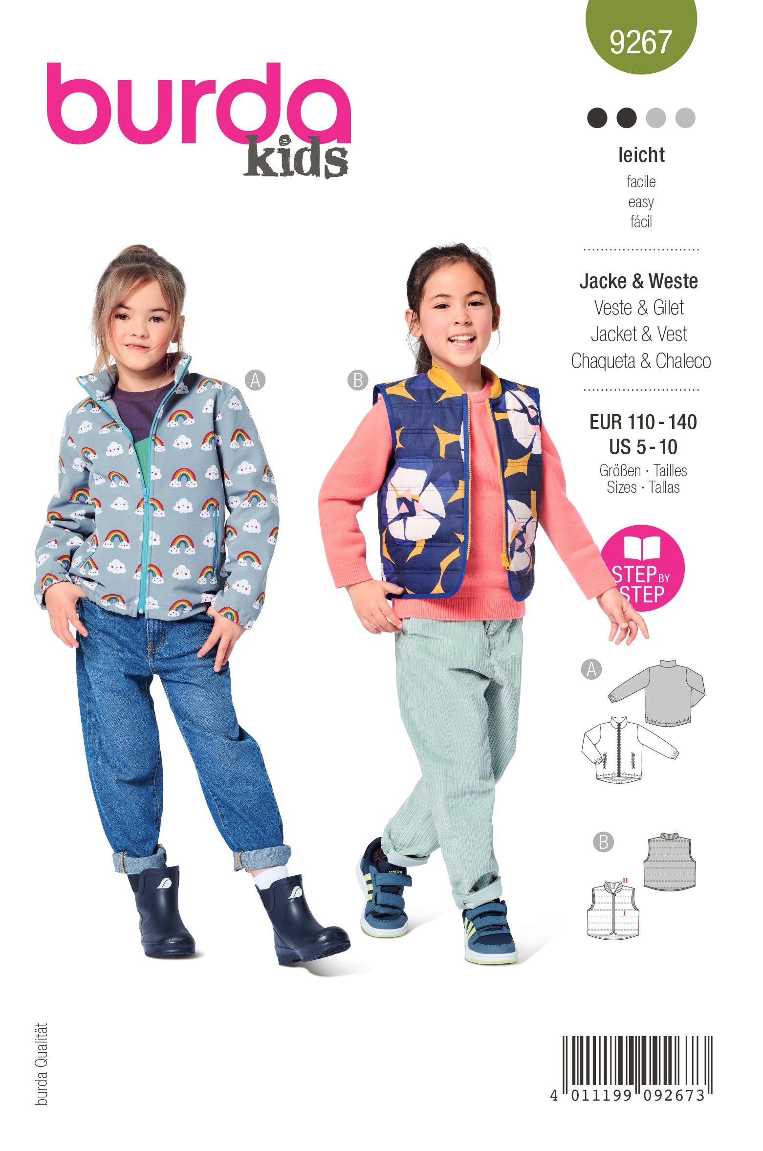 Burda 9267 Schnittmuster Jacke & Weste (kids, Gr. 110-140) Level 2 leicht
